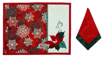 Poinsettia Too in Red Placemat and Napkins